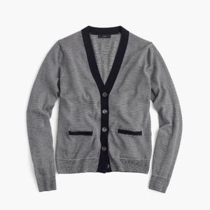 J.Crew Fine-striped V-neck Sweater Cardigan
